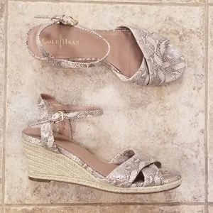 Cole Haan Shoes - Cole Haan Like New Snake Leather Wedge Sandals